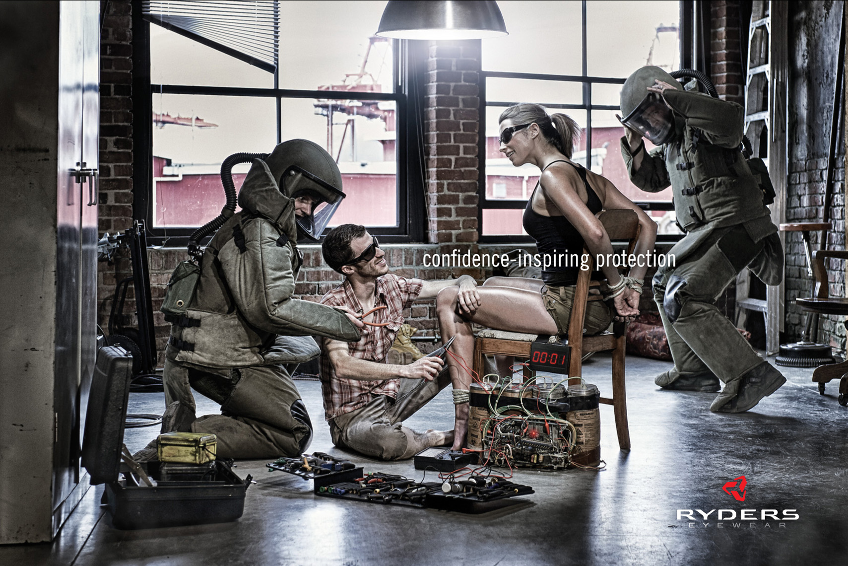 Bomb squad Ryders Eyewear advertising photography by Vancouver advertising photographer Waldy Martens