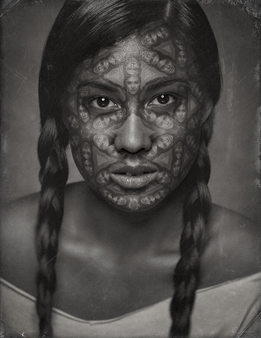 female model tribal selfie face tattoo