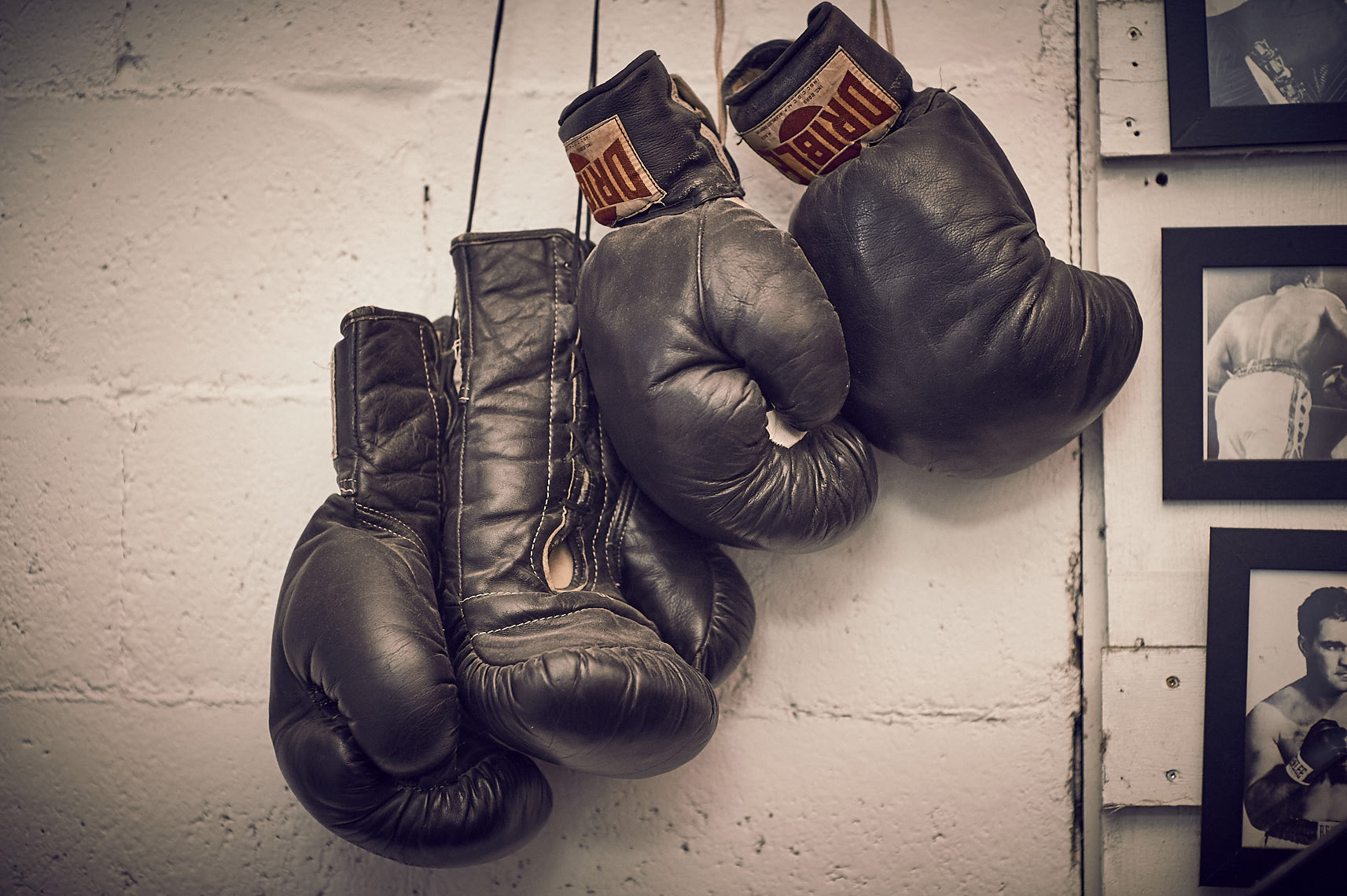 vintage boxing gloves hanging in boxing gym photographed by Vancouver photographer Waldy Martens