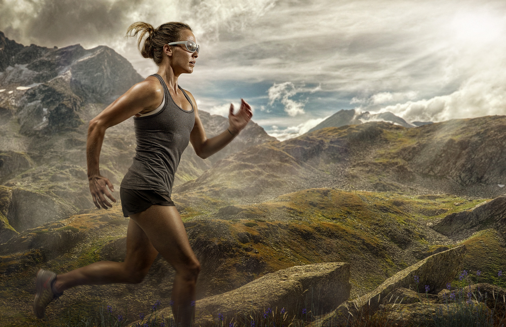 female athlete runner wearing protective sunglasses photography by Vancouver advertising photographer Waldy Martens