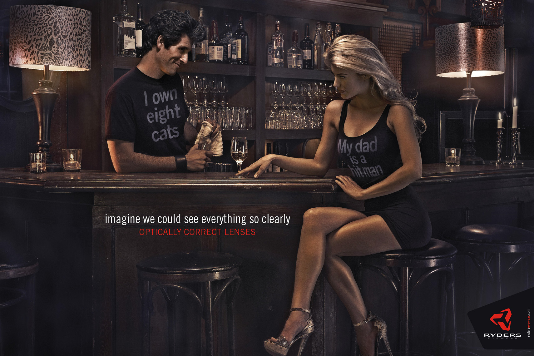 ryders eyewear bartender chats with attractive blonde at the bar