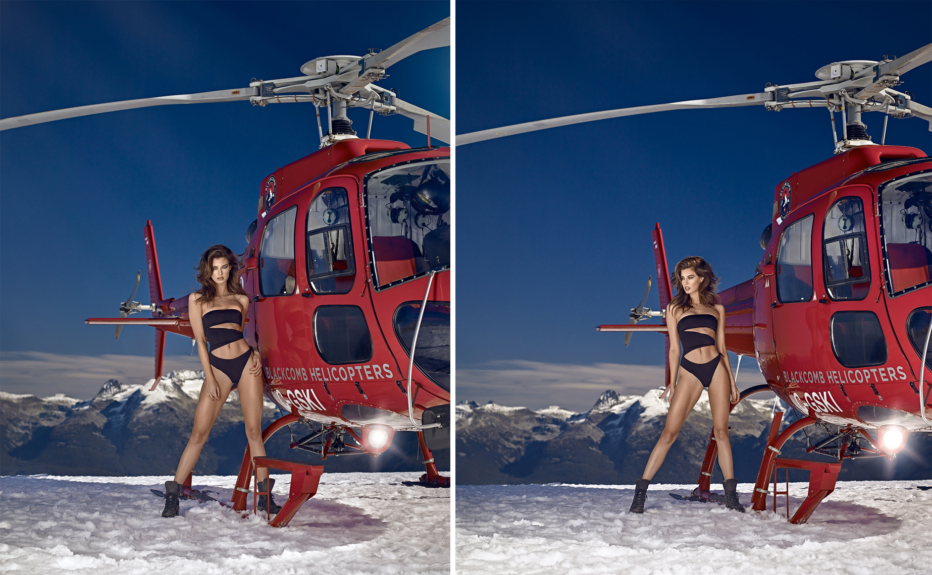sexy girl on mountain with helicopter in snow